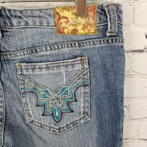 TYTE JEANS | flare distressed embroidered jeans